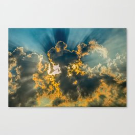Sun Coming Through the Clouds Canvas Print