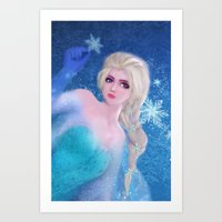 frozen elsa Art Prints featuring Elsa Frozen by sazrella illustration