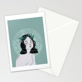 Dreamy girl wearing wreath illustration Stationery Cards