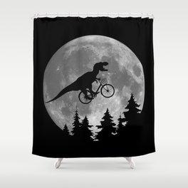 Biker t rex In Sky With Moon 80s Parody Shower Curtain