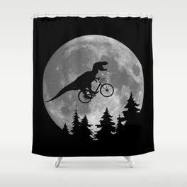Biker t rex In Sky With Moon 80s Parody Shower Curtain