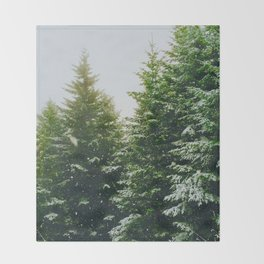 Winter Pine Tree Forest (Color) Throw Blanket
