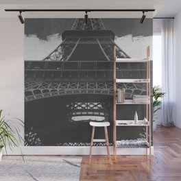 Eiffel Tower Paris France in Black and White Wall Mural