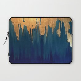 Gold Leaf & Blue Abstract Laptop Sleeve