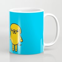 finn and jake Mugs featuring #48 Jake and Finn by Brownjames Prints