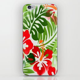 Hawaiian Flowered Shirt Pattern Red Green iPhone Skin