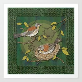 Celtic Fieldfares Art Print