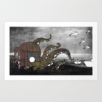kraken Art Prints featuring Kraken  by Dániel Marton