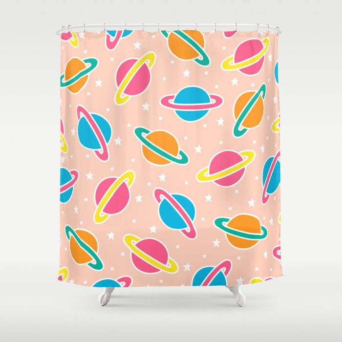 Space Planets Pattern in Pink Shower Curtain