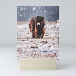 Bison in the snow Mini Art Print