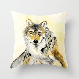 Totem Grey wolf Throw Pillow