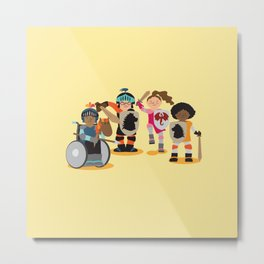 Knight kids - yellow background Metal Print