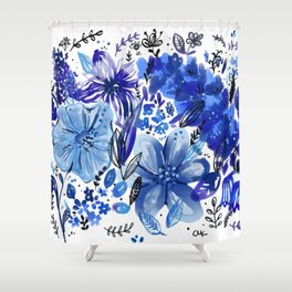 Blue flowers galore Shower Curtain