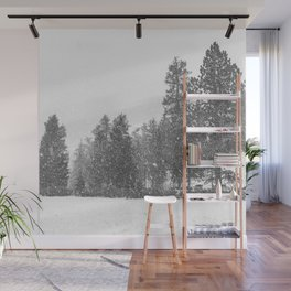 Snow Days // Snowy Tree Black and White Winter Landscape Photography Ski Snowboard Woods Wall Decor Wall Mural