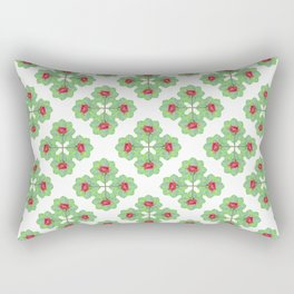 Floral Collage Check Pattern Rectangular Pillow