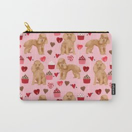 Toy Poodle apricot love cupcakes valentines day hearts dog breed pet portrait dog breeds poodles Carry-All Pouch
