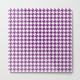 Purple Houndstooth Pattern Metal Print