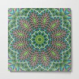 Fern frond lace kaleidoscope Metal Print