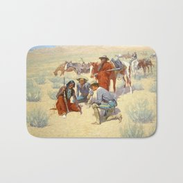 """Western Art """"A Map in the Sand"""" by Frederic Remington Bath Mat"""