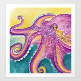 Purple Yellow Octopus Tentacles Watercolor Art Art Print