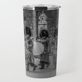 Welsh Guard Fife and Drum during the Changing of the Guard London England Black and White Travel Mug