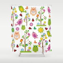 Summer birds pattern Shower Curtain
