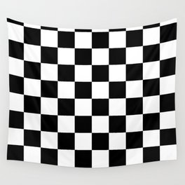 Checkered Pattern: Black & White Wall Tapestry