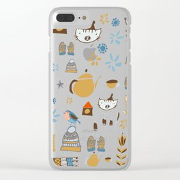 hygge cat and bird camel Clear iPhone Case