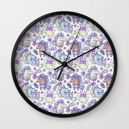 Modern hand painted purple violet magic unicorn illustration Wall Clock