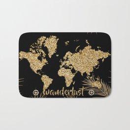 world map gold black Bath Mat