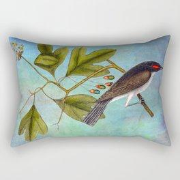 Eastern Kingbird and Sassafrass, Antique Natural History Art Collage Rectangular Pillow