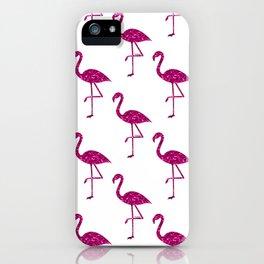Sparkly flamingo Pink glitter sparkles pattern iPhone Case