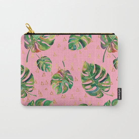 Monstera Gold // Monstera Pattern, Gold Foil Pattern, Lifestyle Digital Collage Pink Carry-All Pouch