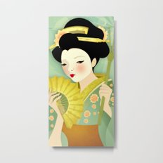 Geisha: Olive Metal Print