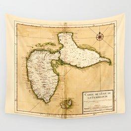 Carte de l'isle de la Guadeloupe (1742) Wall Tapestry
