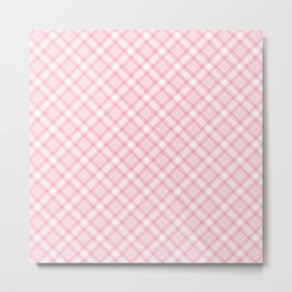 Light Pink Diagonal Plaid Pattern Metal Print