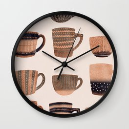 Watercolor Tea Cups Wall Clock