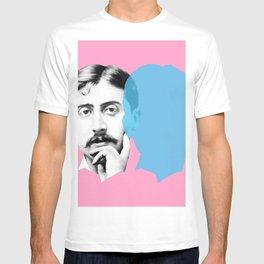 Marcel Proust portrait - pink blue T-shirt