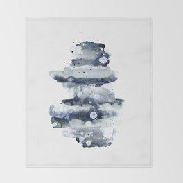 Indigo Abstract Watercolor No.1 Throw Blanket