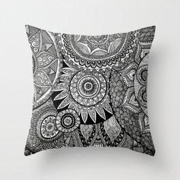 Black Graphic Mandala Pattern Throw Pillow