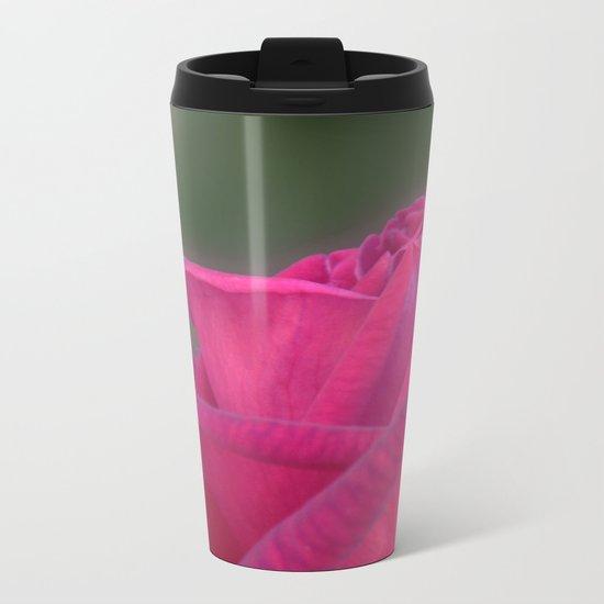 Pink rose flower Metal Travel Mug