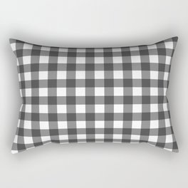 Black on White Gingham Squares | Rectangular Pillow