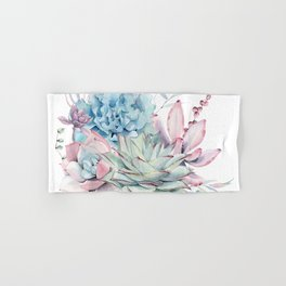 Pretty Pastel Succulents Hand & Bath Towel