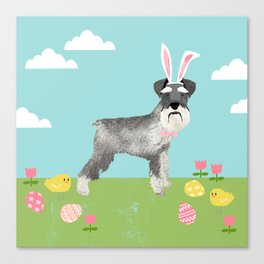 Schnauzer easter dog breed pet pattern rescue dog schnauzers lovers spring easter eggs Canvas Print