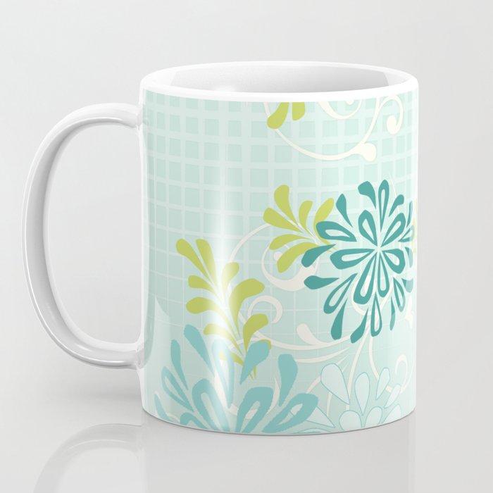 Bold Graphic Mod Mum Modern Chrysanthemum Floral Flower Aqua Blue Coffee Mug