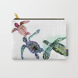 Sea Turtle Family, family art Carry-All Pouch