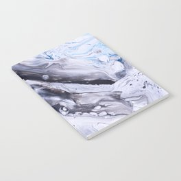 Abstract Blue Grey Marble Painting Notebook