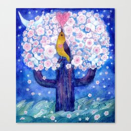 spring night song, original watercolour Canvas Print