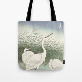 Three herons in the water and the moon - Vintage Japanese Woodblock Print Tote Bag