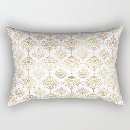 White & Gold Motif Rectangular Pillow
